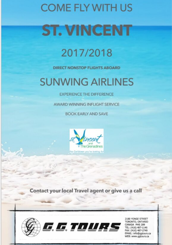 Great prices on airfares to St.Vincent and the Grenadines from Toronto until June 2018. #SVD #YYZ #Vincy #GGTOURS https://t.co/t1bcWTk3Ow