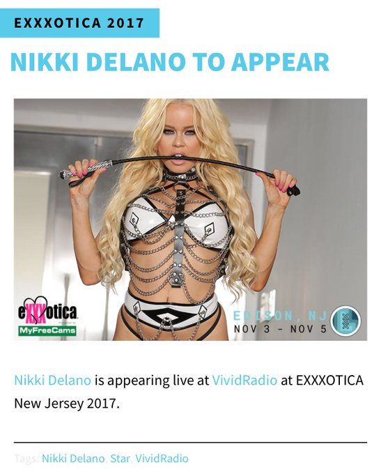 Lovies I will be live at @EXXXOTICA New Jersey Nov 3-5 signing at @Ce_Talent and hosting @VividRadioSXM