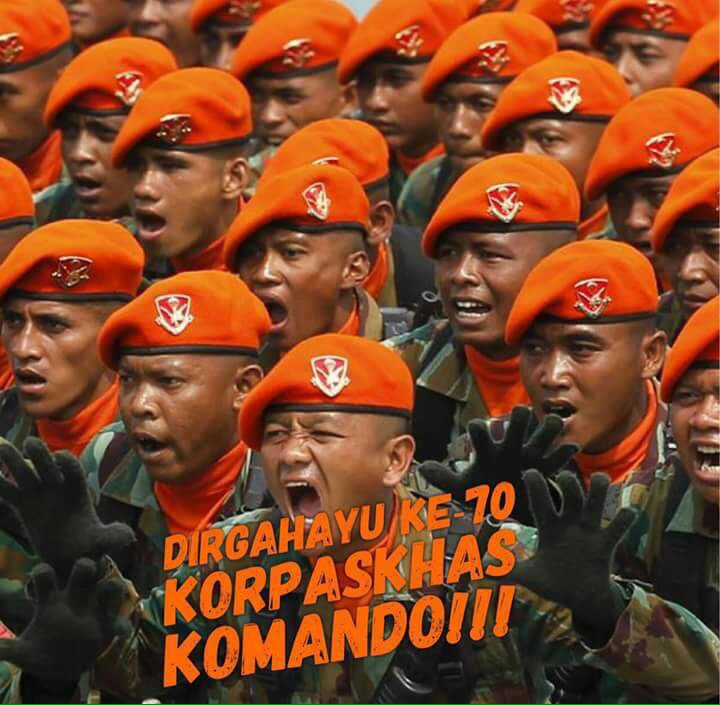 RT @Puspen_TNI: Dirgahayu Ke-70 Korpaskhas TNI AU..Baret Jingga..Komando!!💪🏽😎🇲🇨 https://t.co/kBxa68VNeI