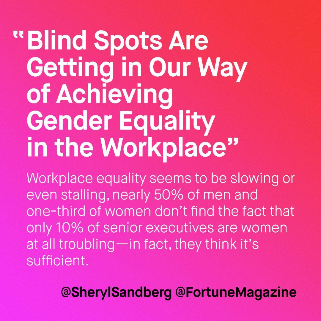 """What's holding ur co. back? """"..often we miss scope&scale of the #gender issue"""" @sherylsandberg via @FortuneMagazine https://t.co/aQ4rJn9Tod https://t.co/koDQvrz5WB"""