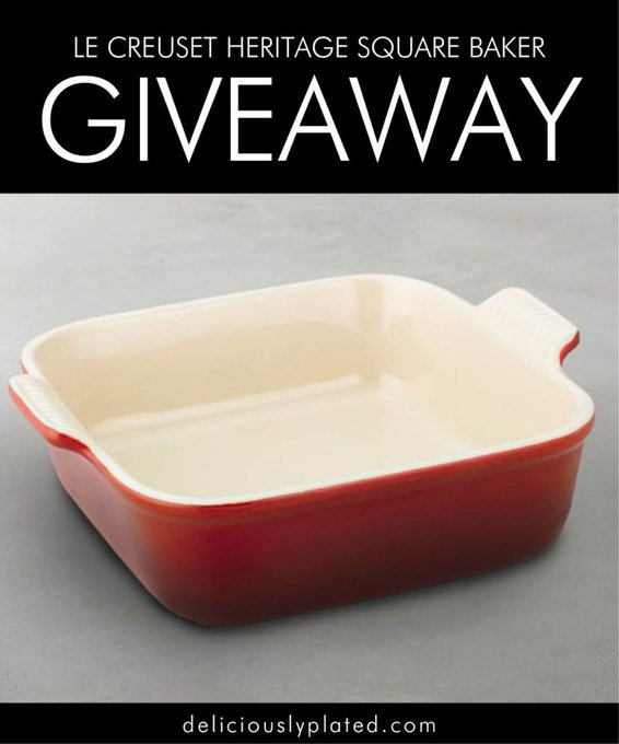 Enter today to WIN this Le Creuset Square Baker!  giveaway freebie