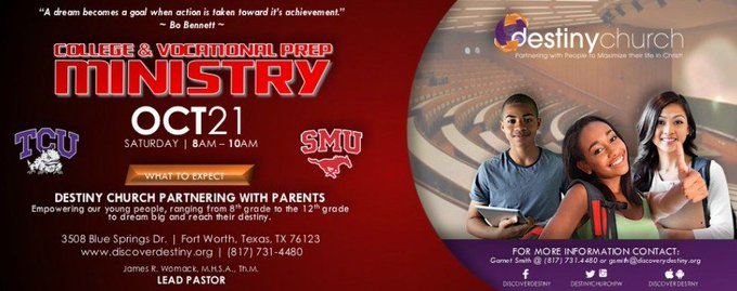 College & Vocational Prep Ministry: Saturday, October 21st 8am - 10am. Destiny Church Partnering with Parents. https://t.co/3W5P0oLAiI