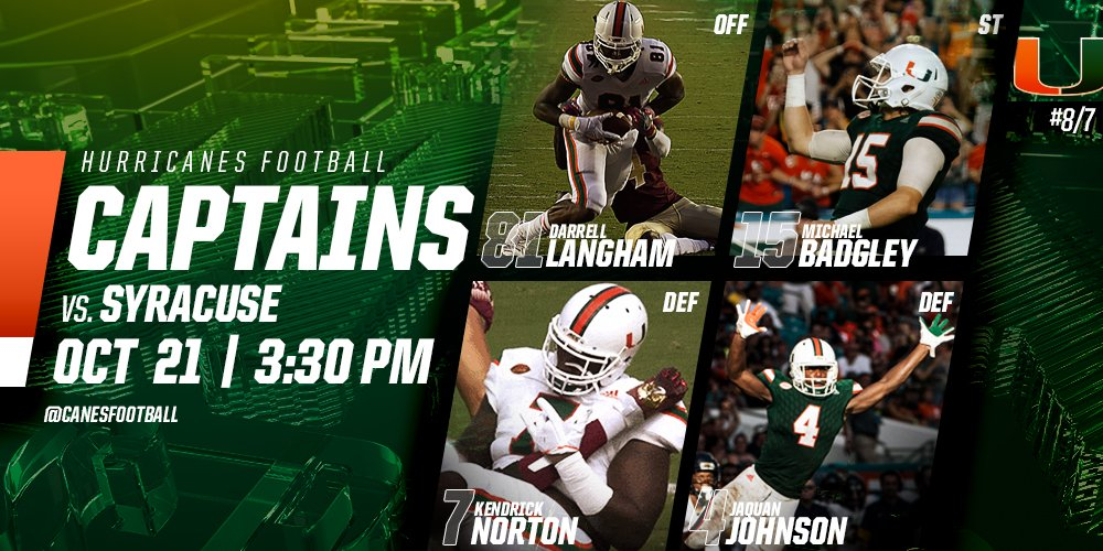 RT @CanesFootball: These guys earned it.  Captains for Saturday: https://t.co/BgYz9HIyvG