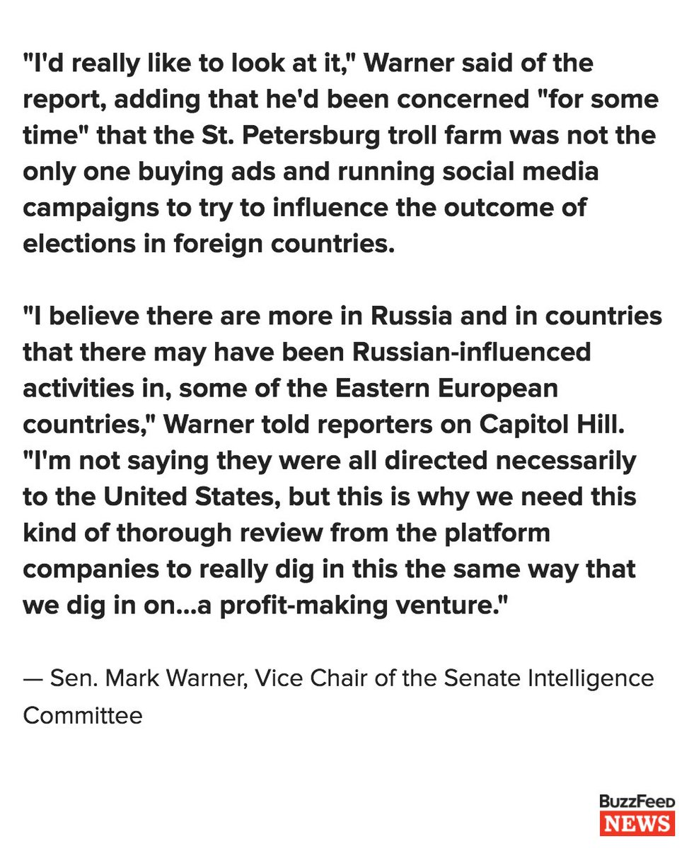 Sen. Mark Warner says he's concerned about reports of a Russian troll farm sending operatives to the US https://t.co/Re6xopToUu https://t.co/bMuJjxgKPy