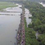 Drone footage shows Rohingya refugees entering Bangladesh
