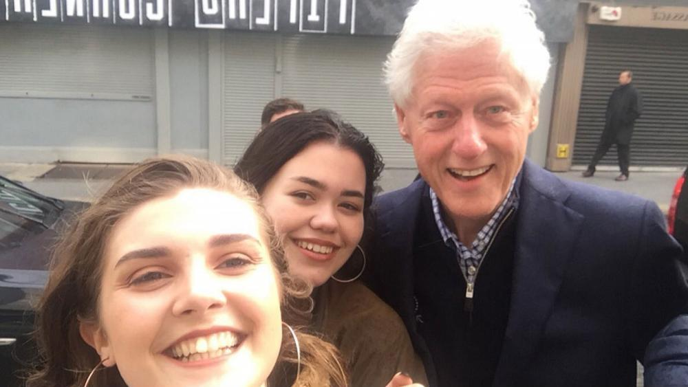 Bill Clinton poses for selfies in Dublin despite tropical storm Ophelia