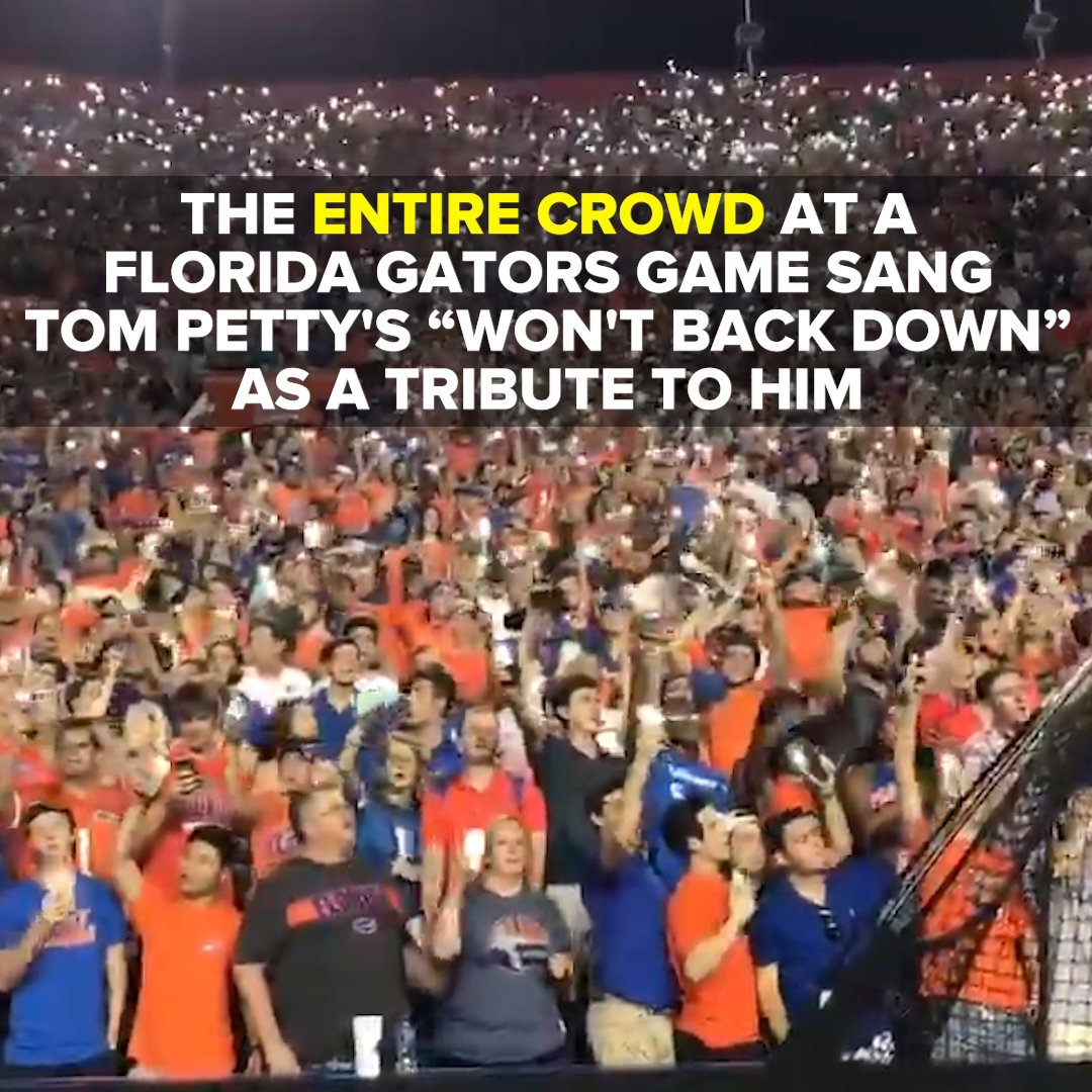 "Listen to that stadium — the crowd at two @FloridaGators games paid tribute to Tom Petty by singing ""I Won't Back Down."" https://t.co/TTKr4oaZtD"