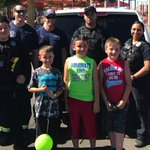 Police and firefighters surprise birthday boys after guests don'tshow