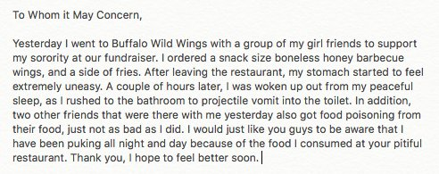 had to give bdubs a piece of my mind after this food poisoning #unreal https://t.co/9kS5XZvHPh