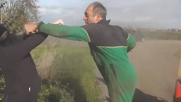 'Get off my land': Crazy footage shows farmer using quad bike to confront hunt protesters