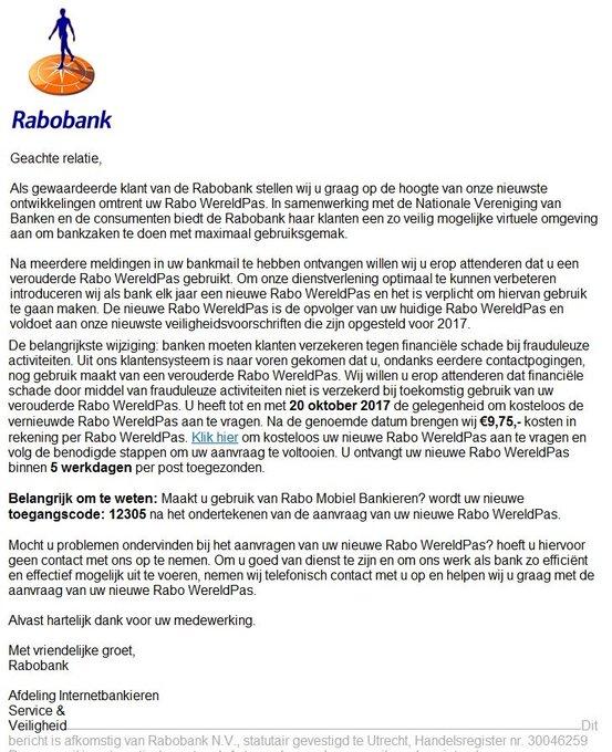 Wederom een goed nagemaakte phishing mail namens de @Rabobank. Niets aanklikken en deleten die mail. https://t.co/bcOD9Tdag8