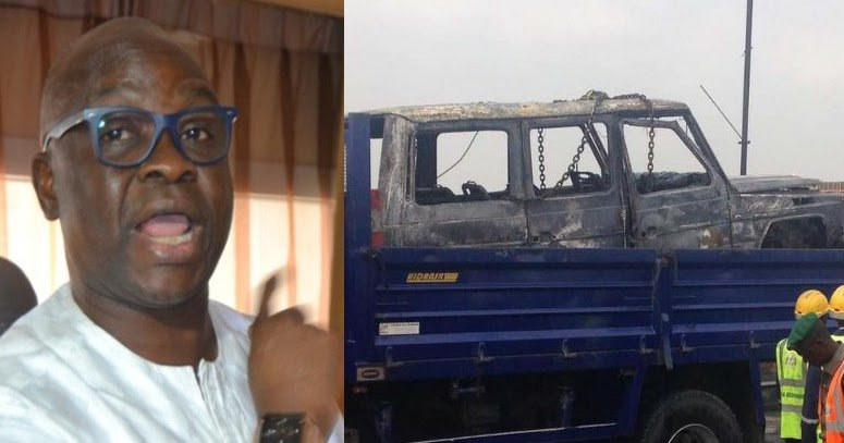 Photos: Gov. Ayo Fayose Narrowly Escape Death After His Official G-Wagon Goes Up In Flames https://t.co/CEIhZpWeGU https://t.co/cOK93w75sT