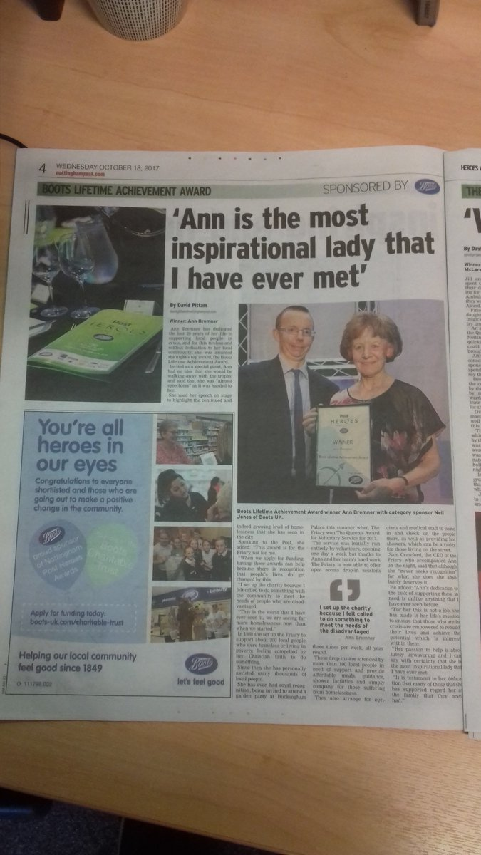 test Twitter Media - Great article in @Nottingham_Post today about our founder, Ann Bremner's #LifetimeAchievement Award at #NPHeroes. #Nottingham #WestBridgford https://t.co/R1KmfFyCiy