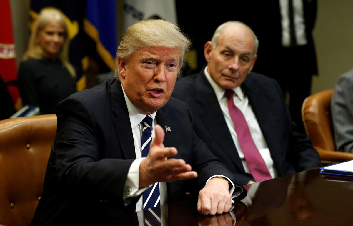 "Trump says reporters should ask General Kelly: ""Did he get a call from Obama?"""