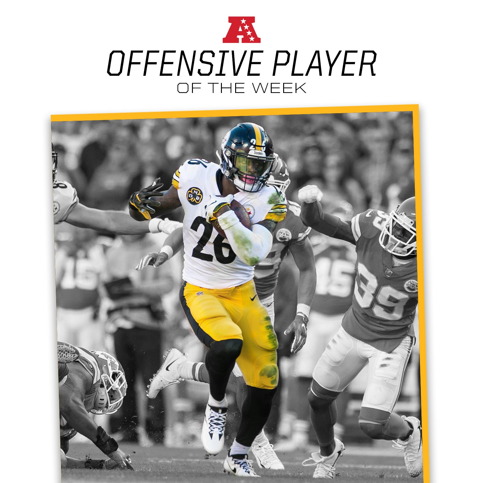 Le'Veon Bell has been named AFC Offensive Player of the Week.  MORE: https://t.co/KdQH9xKMBh https://t.co/MrK6wYonMC