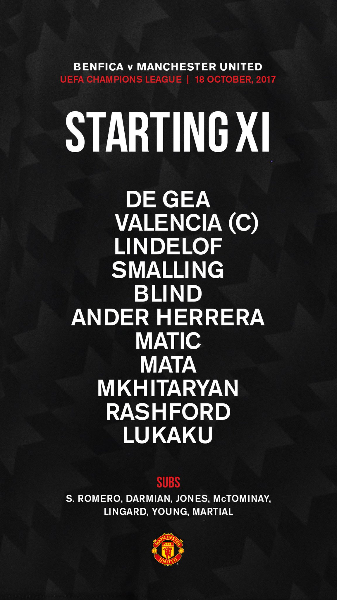Here's the #MUFC team to face Benfica in tonight's #UCL game... https://t.co/Z8Mf48T8bp
