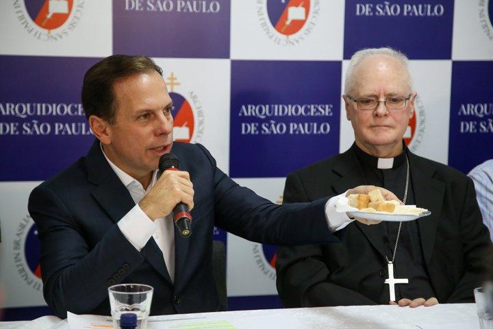 @BroadcastImagem: João Doria e Dom Odilo concedem coletiva de Política Municipal de Erradicação da Fome. Amanda Perobelli/Estadão