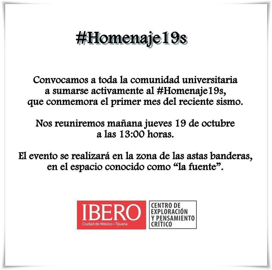 RT @IBERO_mx: Jueves 19 de octubre #Homenaje19S IBERO https://t.co/RV4yrIkekC