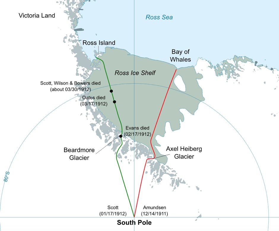The race begins #OnThisDay in 1911 Amundsen leaves his base at Bay of Whales to begin South Pole journey, 13 days ahead of Scott's departure https://t.co/zGdlUFyk6c