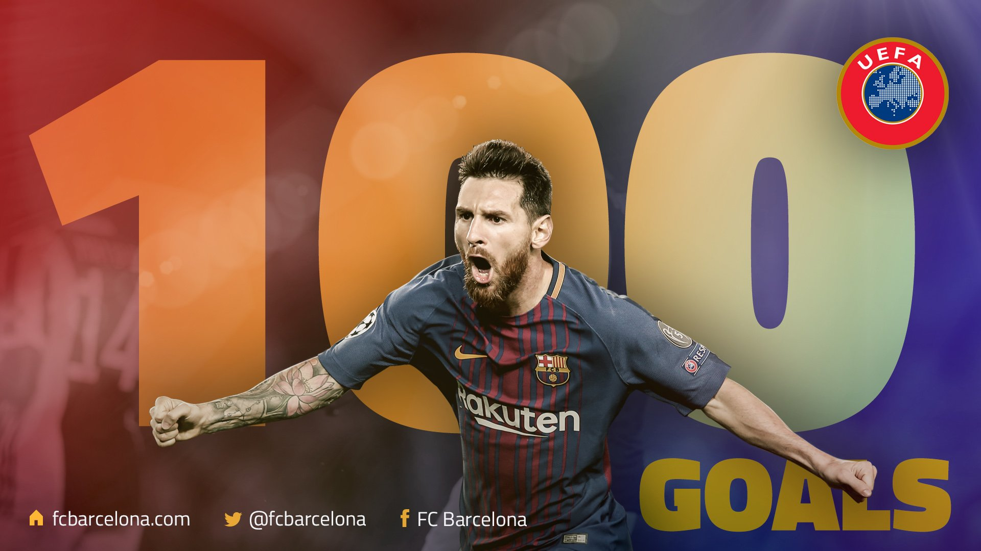 ⚽️ With that free kick #Messi reaches 100 goals in European competition! �� Congratulations Leo! �� #BarçaOlympiacos https://t.co/onwLfCzyyt