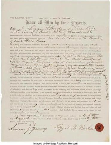 Lizzie Borden signed this document after she was arrested — and now it's up for auction