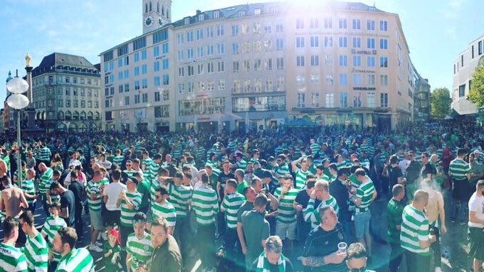 How Celtic fans have left Marienplatz square in Munich tonight. https://t.co/CWrbva59ae
