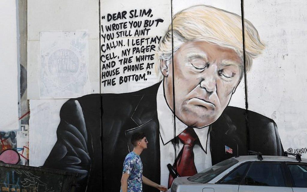 Trump, Zuckerberg, Larry David razzed on West Bank wall