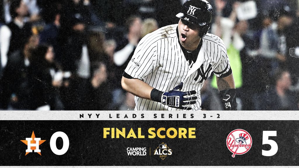Let's hear it for New York.  The @Yankees are one win away from the #WorldSeries. https://t.co/yGN6eWfMNl https://t.co/7M2HbMg6nW