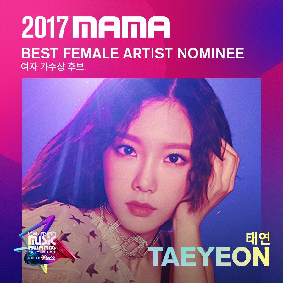 [#2017MAMA] Best Female Artist Nominees #TAEYEON #Heize Vote▶https://t.co/TUeFfeTkdG #Qoo10 #큐텐 https://t.co/fef95wMDe2