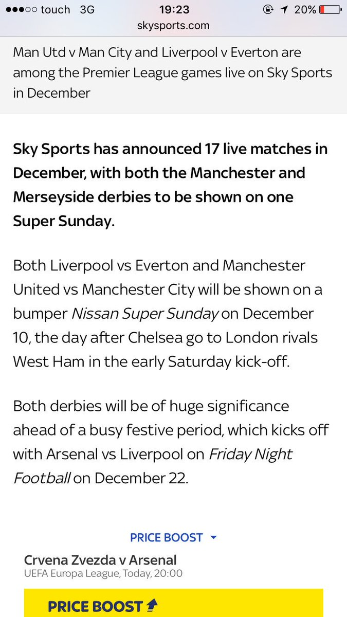 Sunday December 10th is going to be fun, Merseyside Derby followed by the Manchester Derby. https://t.co/396HO31gu0