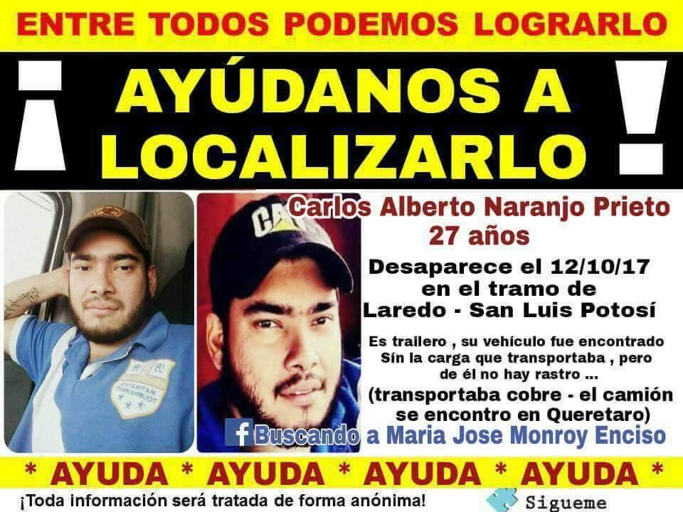 RT @alexandrovill: Trailero potosino Desaparecido  #SLP  #FelizJueves  @LaAlamedaTamps https://t.co/blRpMM4gin