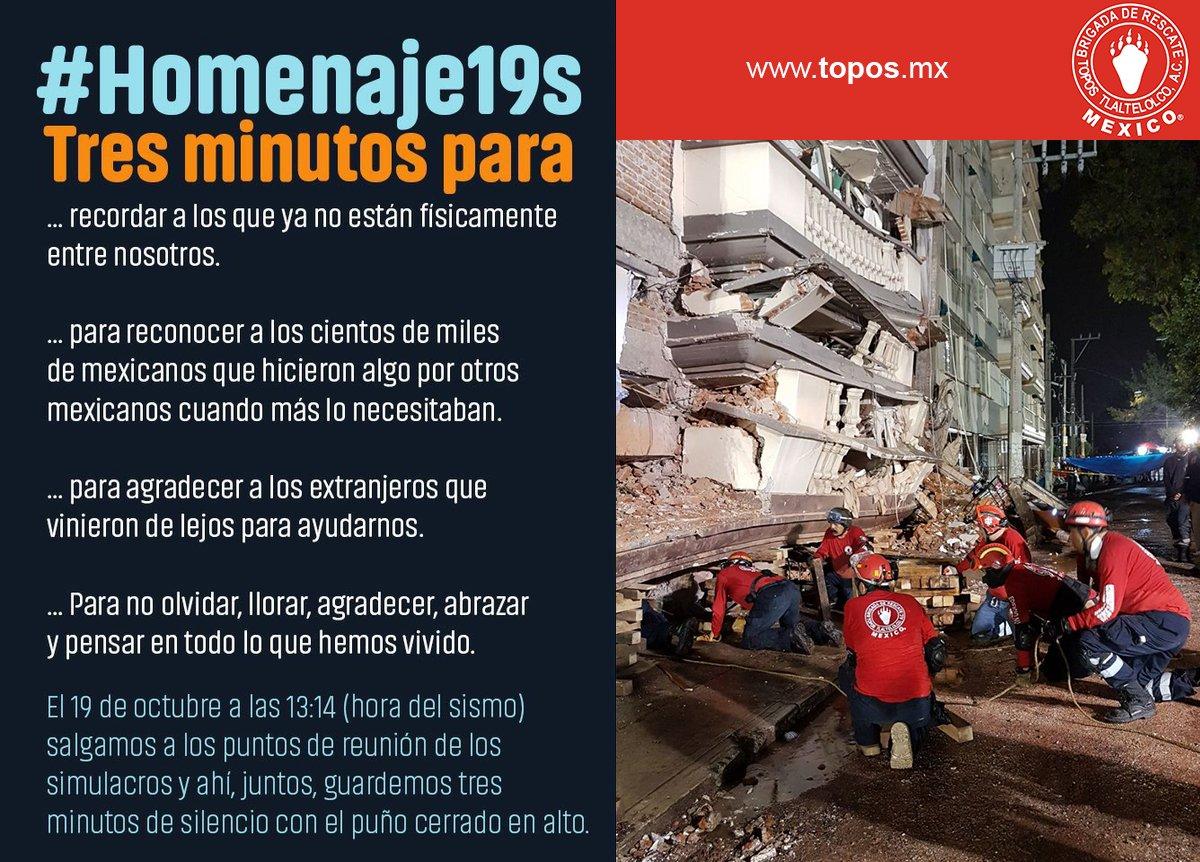 RT @topos: A un mes del sismo no dejemos de apoyar, de estar prevenidos, de mantenernos unidos. #Homenaje19S https://t.co/VAh2Z878dT
