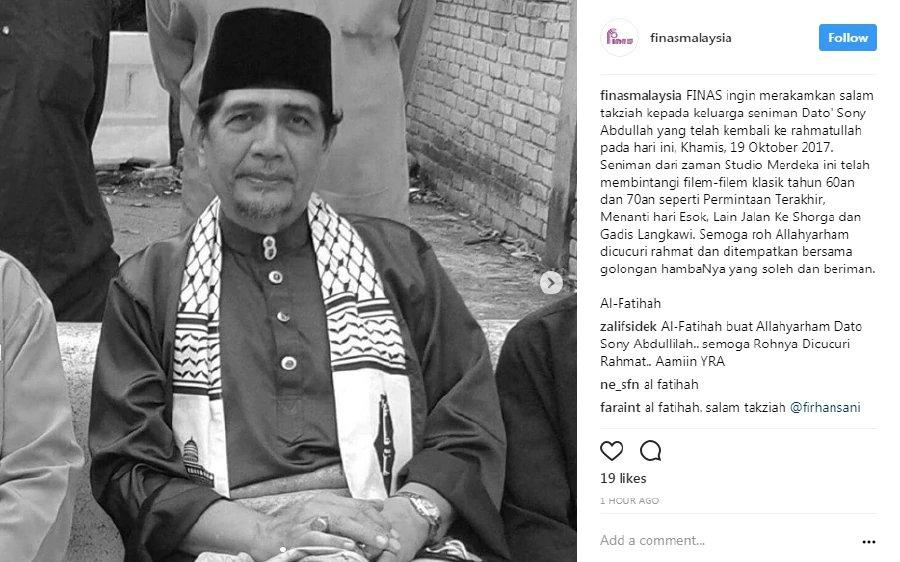 Veteran actor Sony Abdullah dies aged 74