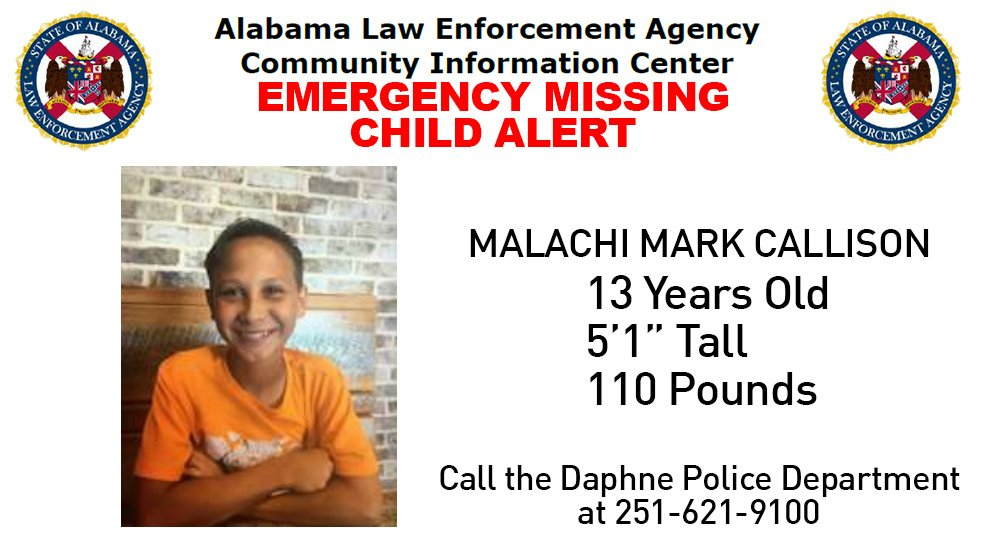 Missing child alert issued for Daphne 13-year-old