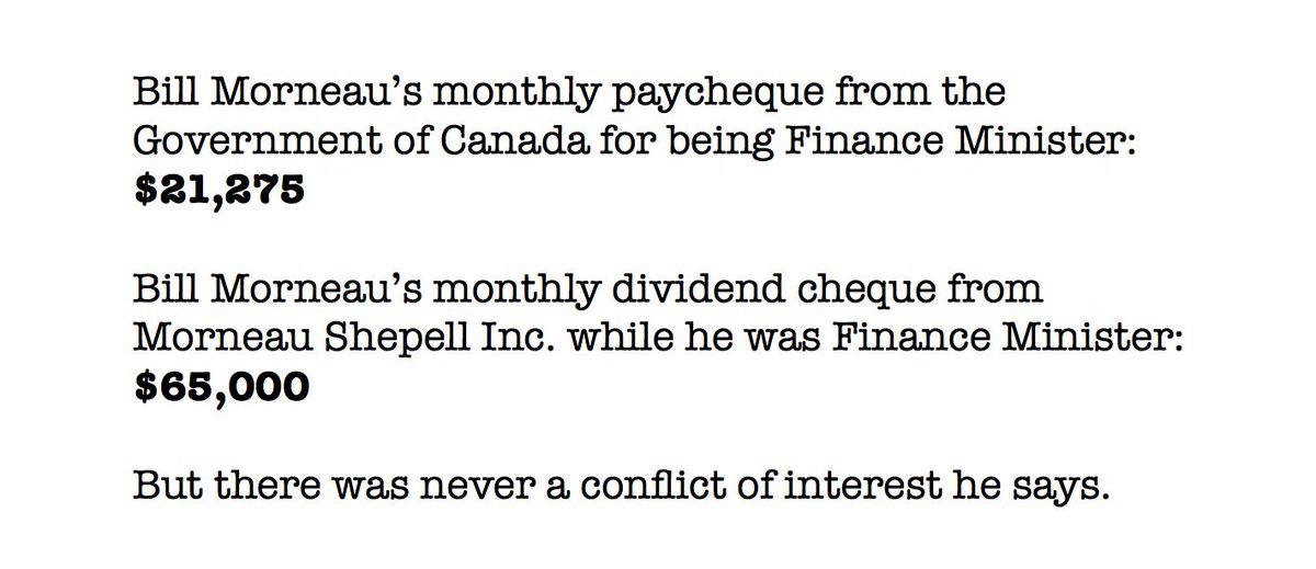 RT @davidakin: Where has Canada's finance minister been getting a monthly paycheque? Here you go: https://t.co/OjmMu9bfKZ
