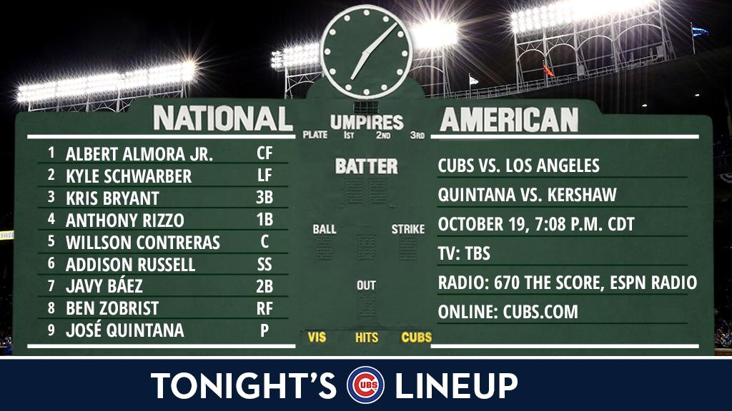 Here is tonight's #Cubs lineup.  NLCS Game 5 preview: https://t.co/iReetvnkgl https://t.co/ho2MCowtqN