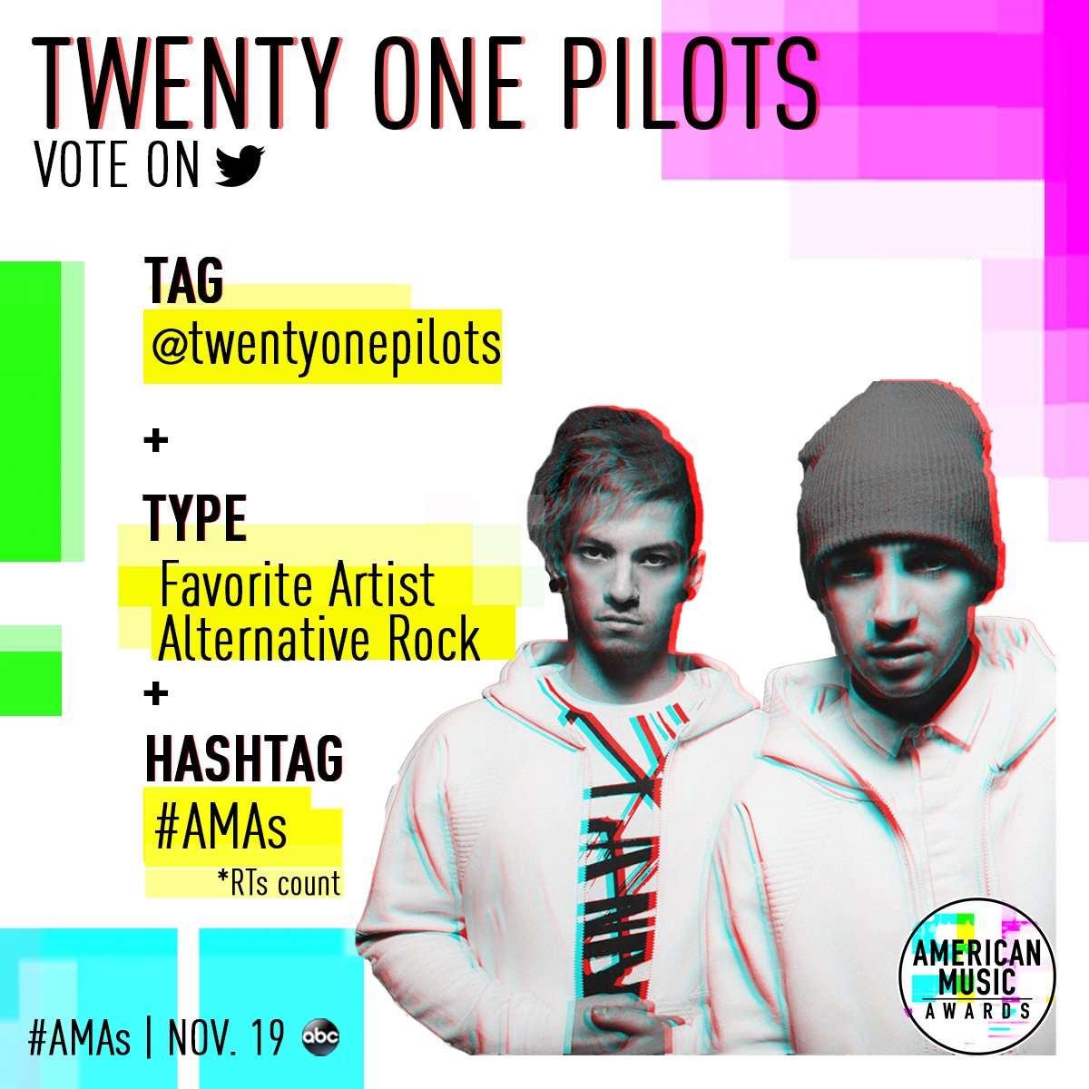 Not stressed out. 🙅 It's easy to vote for @twentyonepilots for Favorite Artist Alternative Rock at the #AMAs!