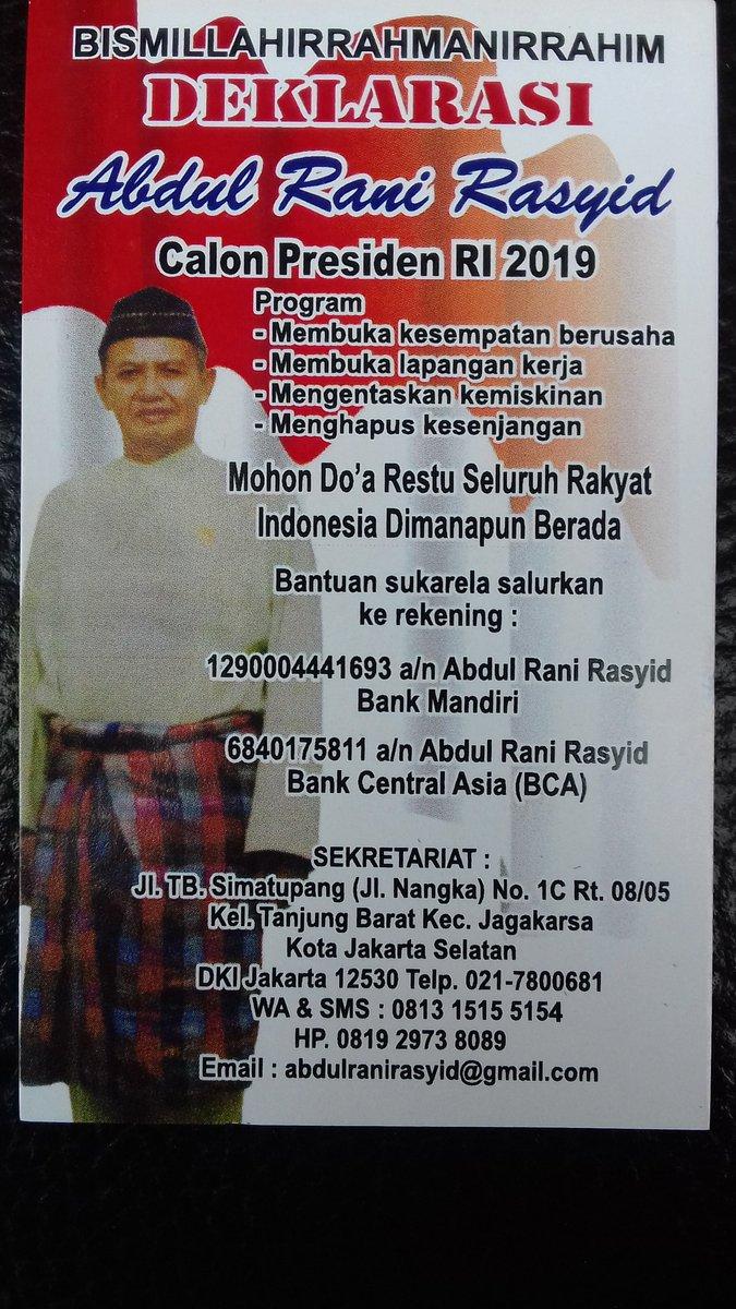RT @ABDULRANIRASJ11: Abdul Rani Rasjid for the eight Precident of RI Retwitt kalau setuju Like kalau tdk setuju https://t.co/7P6gmJLU5g
