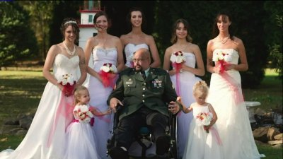 Father's dying wish to walk daughters down the aisle comes true