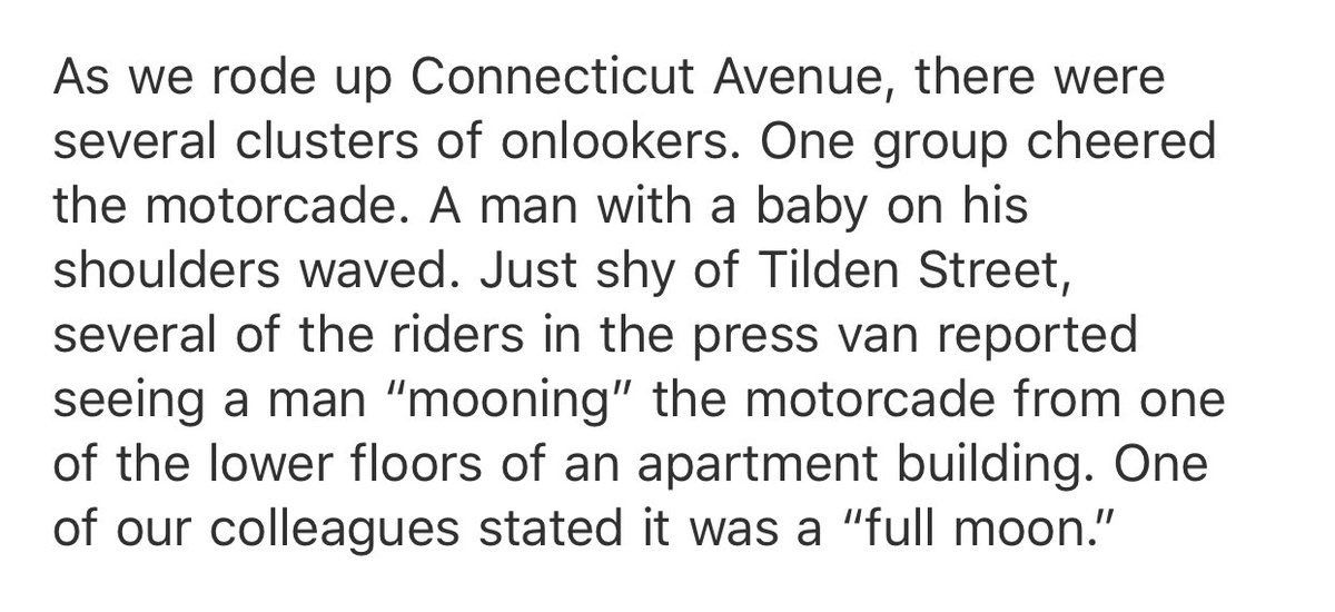 RT @kylegriffin1: Per pool, a man just mooned the presidential motorcade. https://t.co/Pm3NaQQBCU