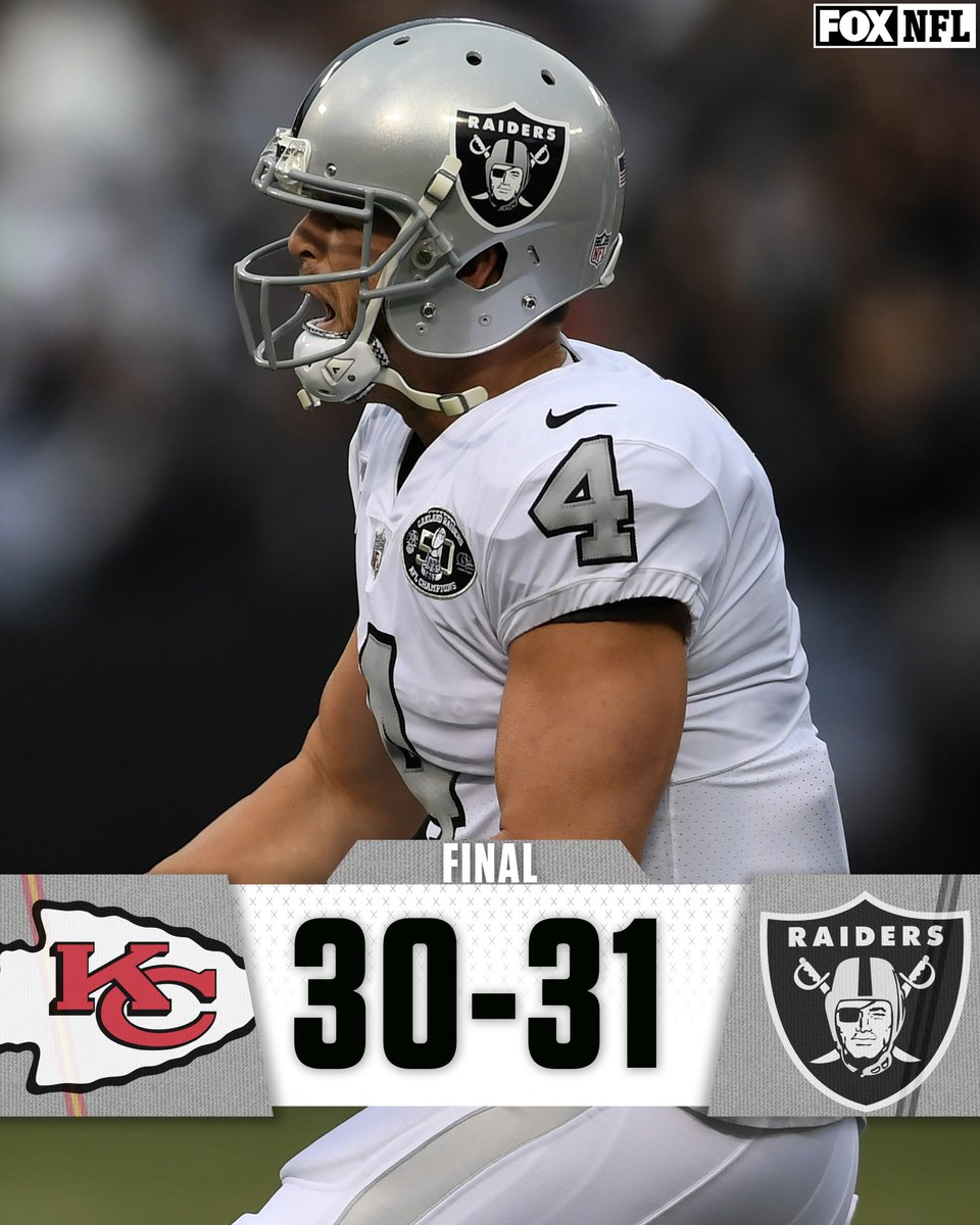 RT @NFLonFOX: COMEBACK COMPLETE!!!  The @Raiders win one of the best games of the season and beat the Chiefs, 31-30. https://t.co/1vVwCiFZ0V