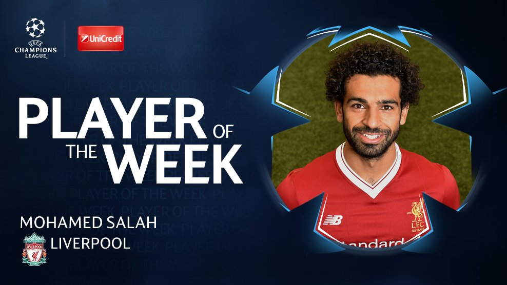 ⚽️ #UCL Player of the Week ��  �� @22mosalah  �� 51% of votes https://t.co/Tp2ReniwBM
