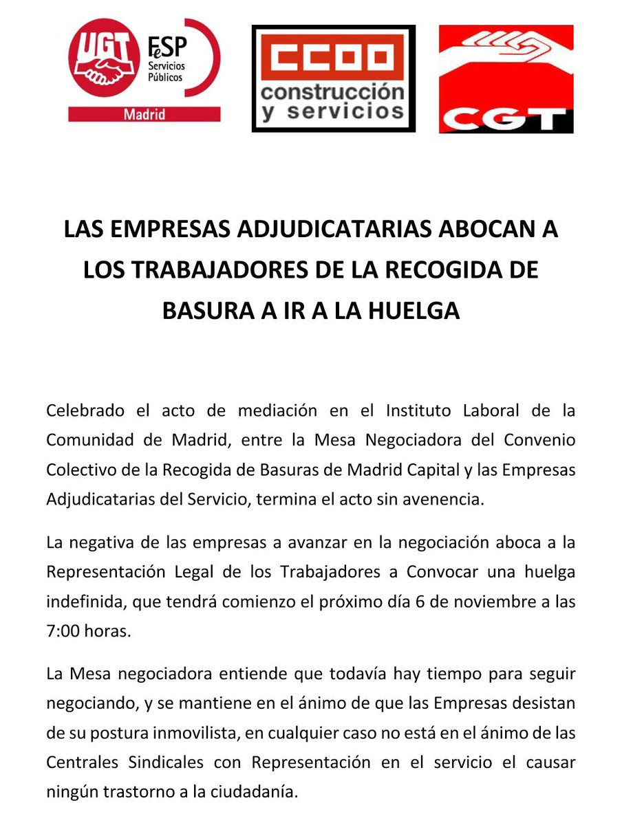 RT @CGTRSUMadrid: Nota de Prensa - Huelga Recogida de Residuos Madrid Capital https://t.co/L0DYqQTUk7 @EFEnoticias @EPMadrid @elconfidencia…