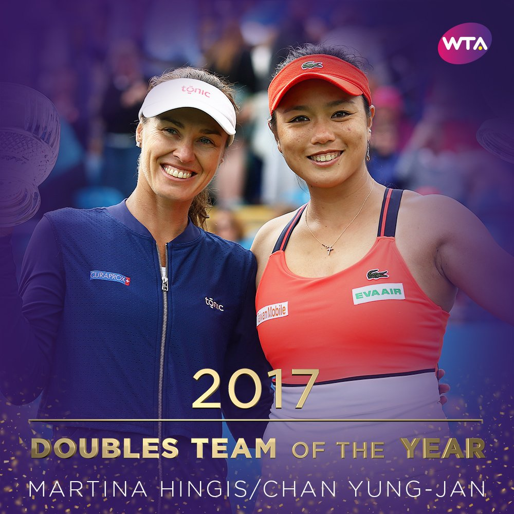 Congratulations to @mhingis and @YungJan_Chan on being named Doubles Team of the Year ---> https://t.co/wtUvYNVuWy https://t.co/dHutNOGExu
