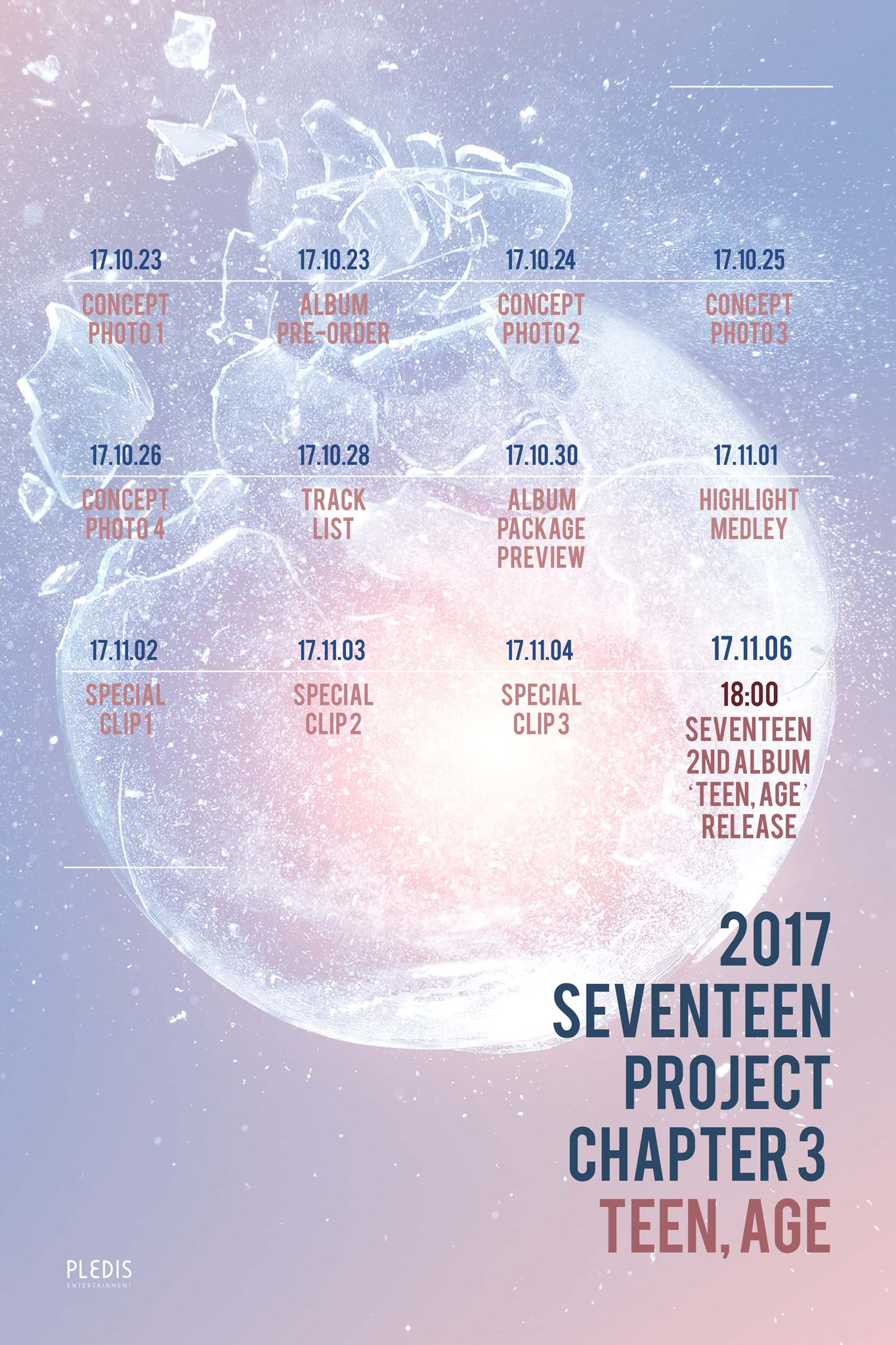 2017 SEVENTEEN PROJECT CHAPTER 3 'TEEN, AGE' TIMETABLE #SEVENTEEN #TEEN_AGE #20171106_6PM https://t.co/2rqnVAyMkG