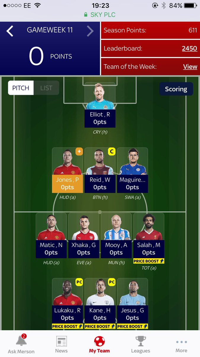 test Twitter Media - Sky sports fantasy football team for tonight. Suttner on the bench so replaced him with Winston Reid https://t.co/7pTXSlOO7y