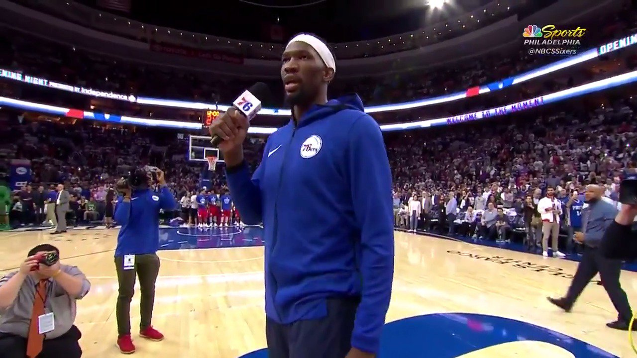 Joel Embiid addresses the crowd in Philly! #HereTheyCome https://t.co/nX9Kag3ZjY