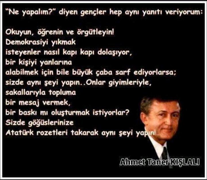 RT @SLuleci: Düşünceler Ancak Doğrulara Oturdukları Zaman Güç Kazanırlar... #AhmetTanerKışlalı Saygıyla Anıyoruz https://t.co/01bebCgZvQ