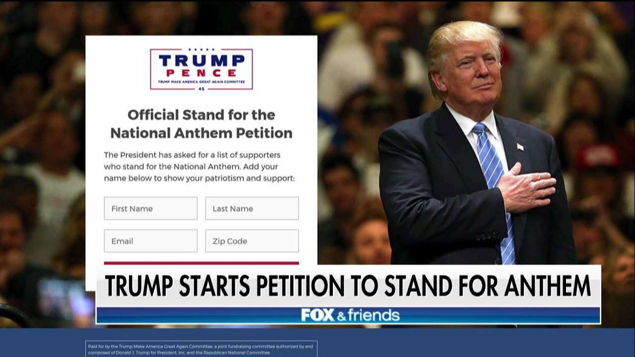 Trump Launches Petition to Stand for National Anthem https://t.co/uPsveC0q4Y https://t.co/8z32CHkRHc