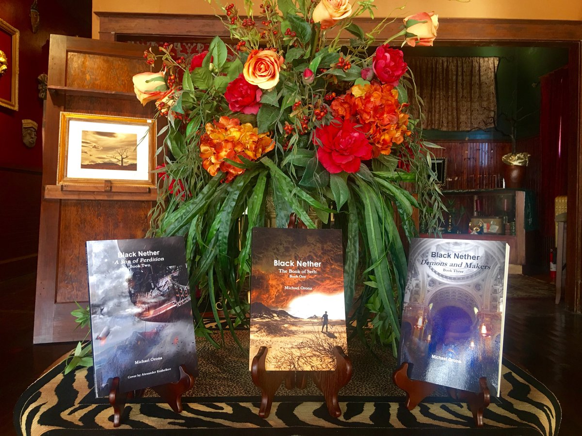 """Classing up our front entry way with 's AWESOME three series paperback books titled """"Black"""